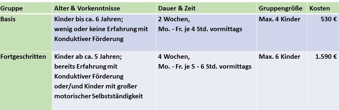 Tabelle-Kosten